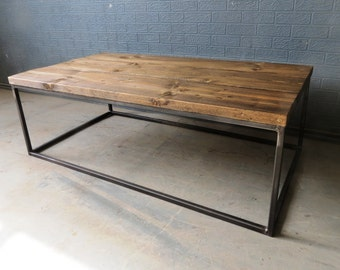 Industrial Chic Style Reclaimed Custom Coffee Table TV Stand   Steel Solid  Wood Metal Hand Made In Sheffield 087