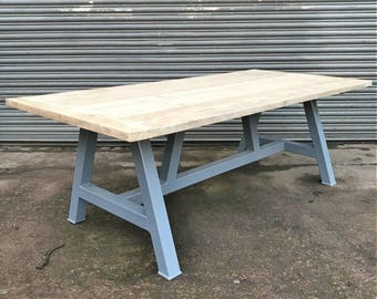 829cd6d693a2 Reclaimed Industrial Chic Farmhouse A-Frame Solid Wood Dining Table 613