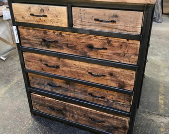 Reclaimed Industrial Chic Chest Of 6 Drawers Tall Boy Unit   Bar Shop Cafe  Office Bedroom Restaurant Steel Solid Wood Metal Hand Made 520