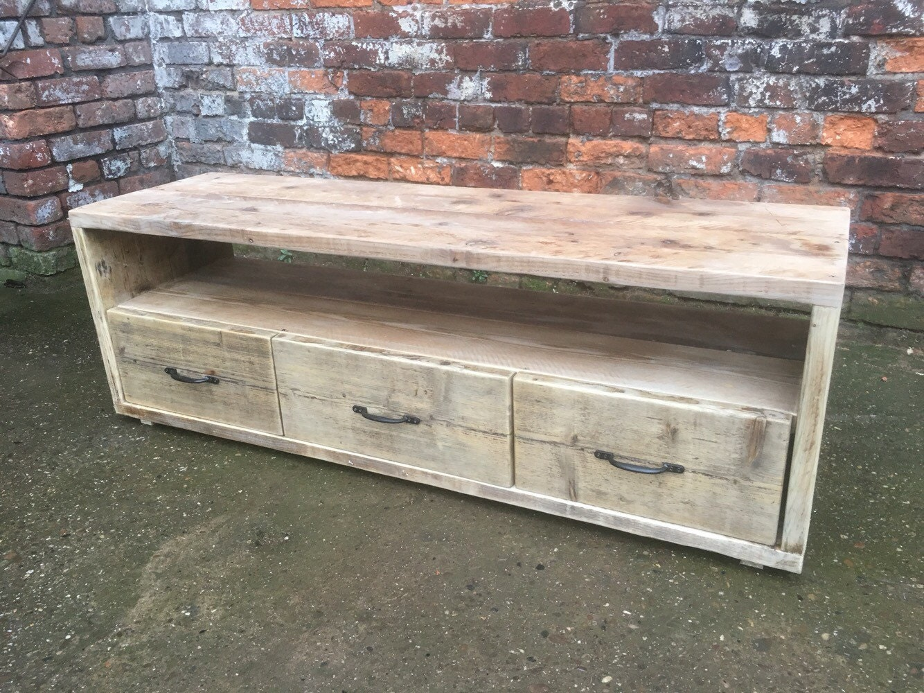 Industrial Chic Reclaimed Wood Tv Stand Media Unit With 3 Etsy