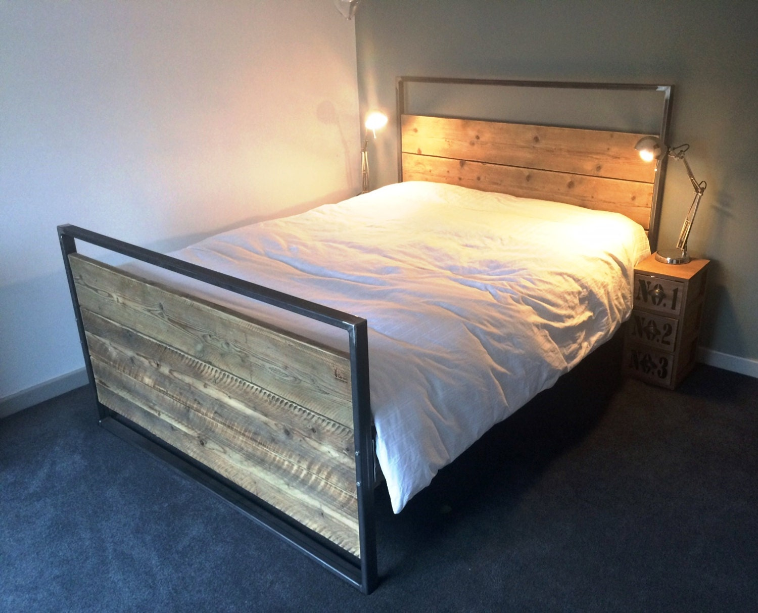 reclaimed industrial chic hand made king size bed. Black Bedroom Furniture Sets. Home Design Ideas