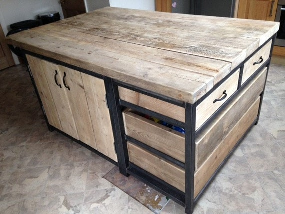 Reclaimed Industrial Kitchen Island Unit with Drawers and Cupboard - Bar  Cafe Restaurant Steel Solid Wood Metal Custom Table Hand Made 501