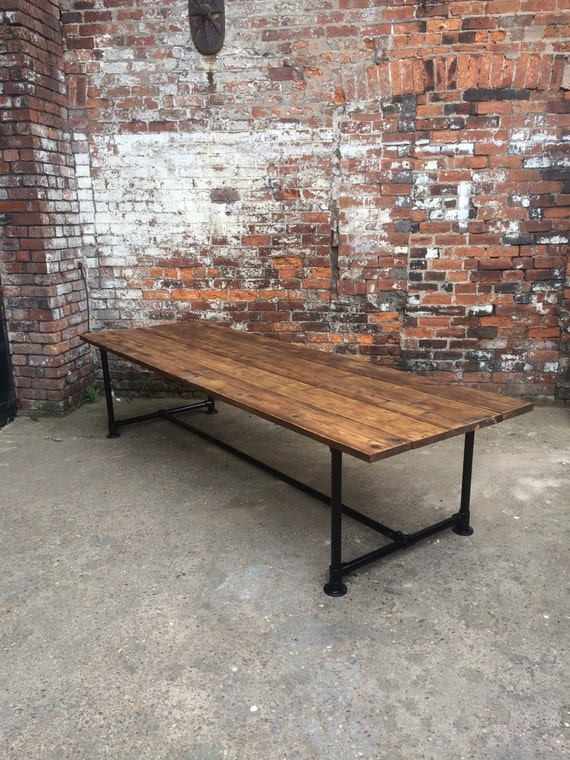 Reclaimed Industrial Chic Pipe Seater Conference Table - 12 seater conference table
