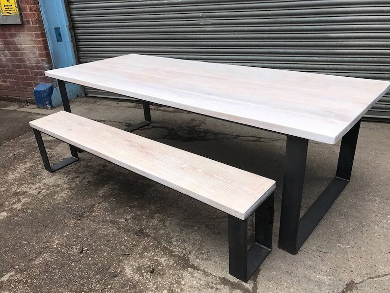 Solid Limed Oak Industrial Chic 8 10 Seater Dining Table U0026 Bench   Cafe  Restaurant Furniture Made To Measure Steel Reclaimed Full Stave 561