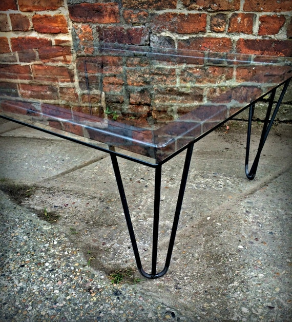 Glass Coffee Tables Etsy: Industrial Chic Hairpin Glass Coffee Table Steel Metal