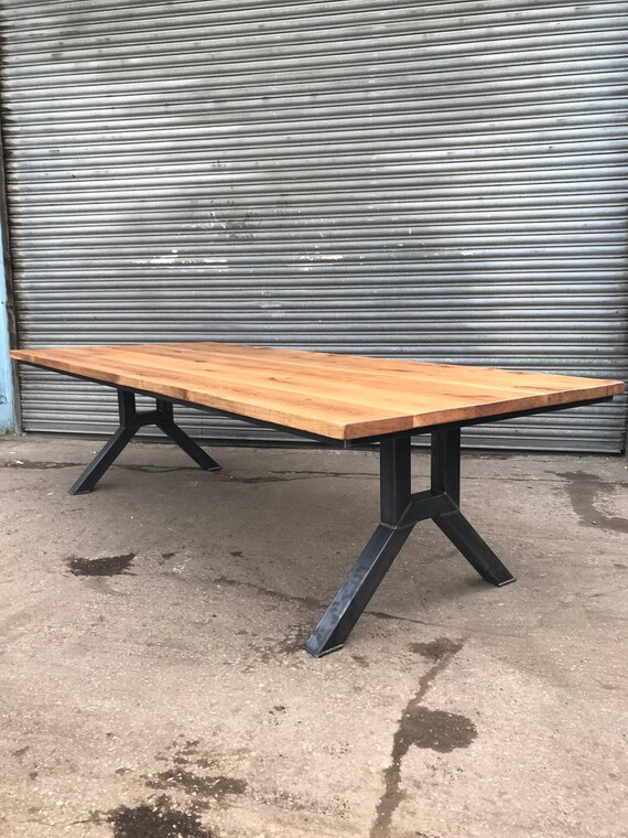 Solid Oak Industrial Chic YFrame Seater Dining Table - 12 seater solid wood dining table