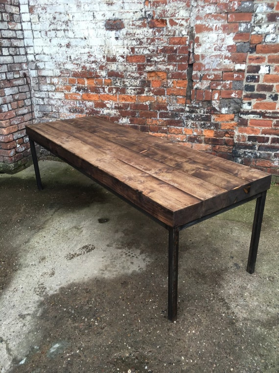 Reclaimed Industrial Sleeper Seater Dining Table Bar Etsy - 12 seater solid wood dining table