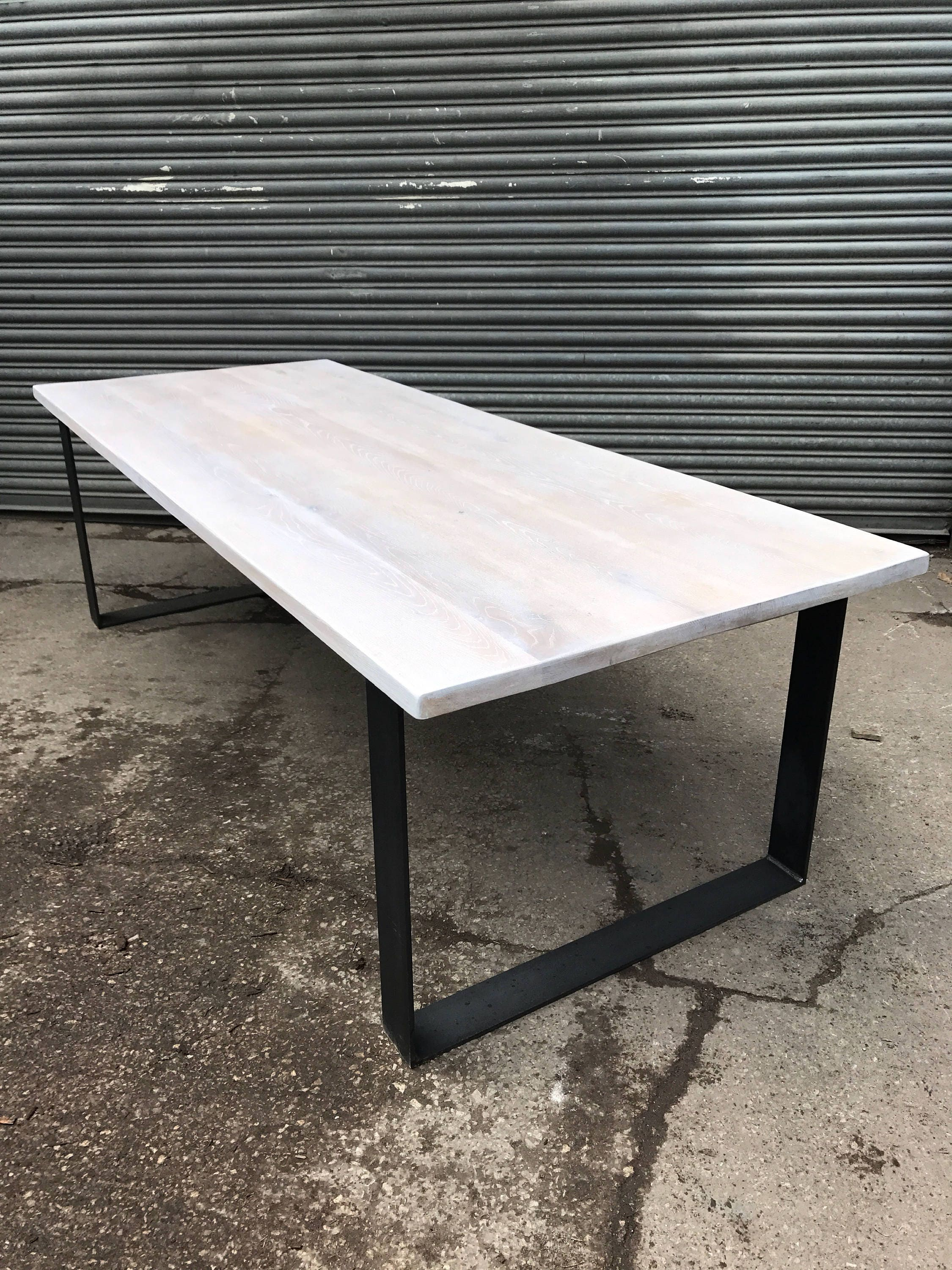Solid Limed Oak Industrial Chic 8 10 Seater Dining Table   Cafe Restaurant  Furniture Steel Wood Metal Made Measure Reclaimed Full Stave 560