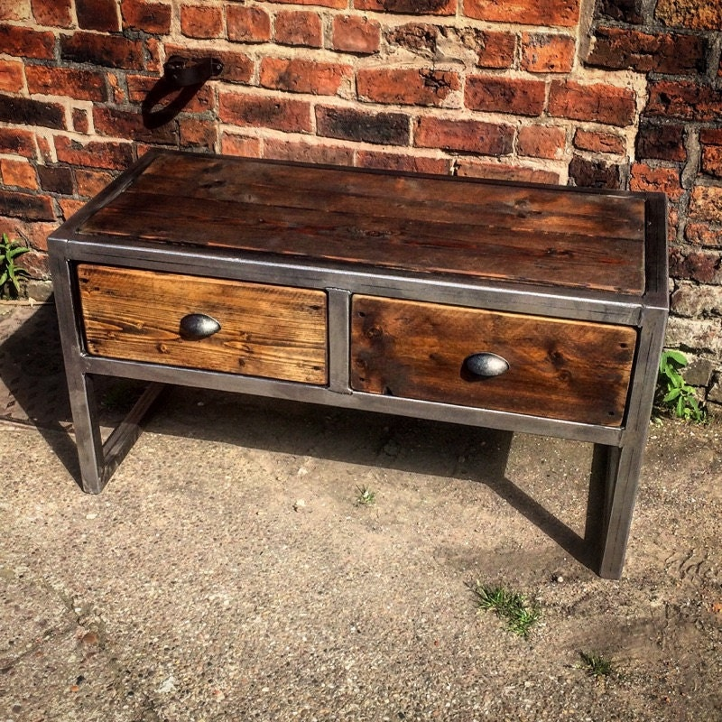 Industrial 6 Drawer Coffee Table: Industrial Chic Reclaimed Custom Coffee Table TV Unit With