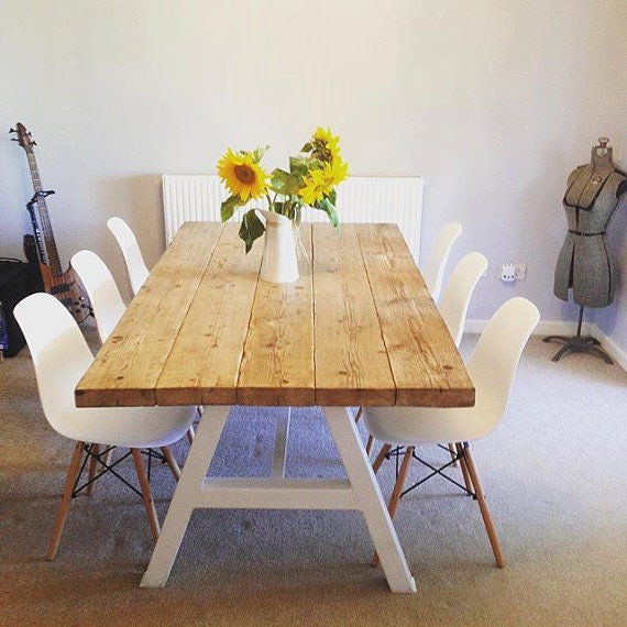 Reclaimed Industrial Chic A Frame 6 8 Seater Dining Table Etsy