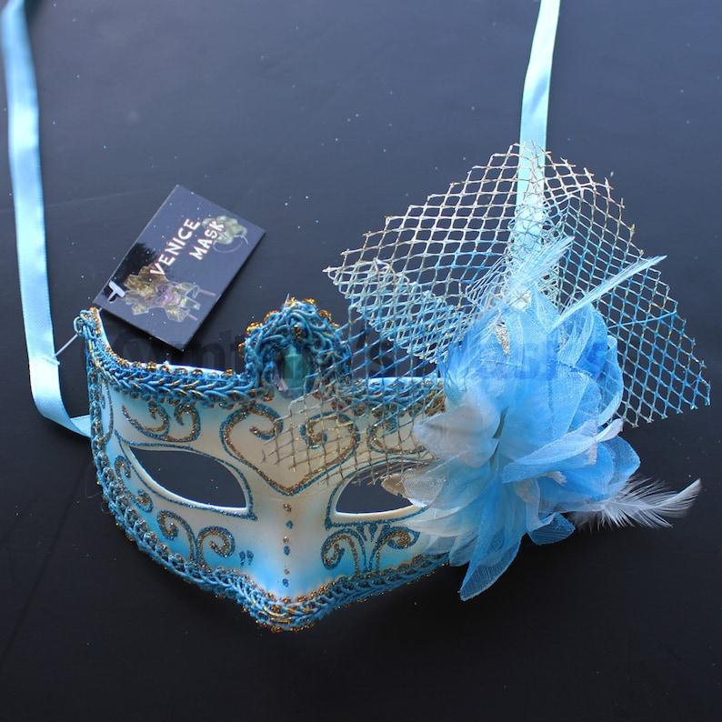 parties home decor  5M1A  SKU: 6E52 Aqua Venetian floral Masquerade Mask for wedding dancing