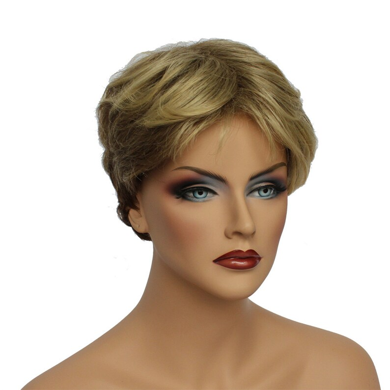 Classic Cap women Synthetic Wavy Short Golden Blonde full wig  3e835fa74