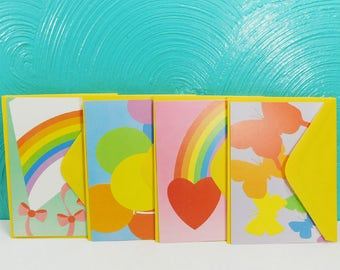 Vintage Set of 12 Rainbow Graphics Note Cards with Envelopes, Blank Greeting Cards, Current Inc. Note Cards