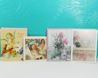 Vintage Set of 4 Victorian Themed Note Cards with Envelopes, Blank Greeting Cards, Current Inc Note Cards