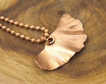 Copper Ginkgo Leaf Necklace - Leaf Necklace - Copper Ginkgo Leaf Necklace with Bead Chain