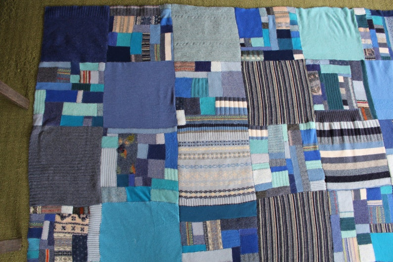 Downtown Looking Down Blue Wool Blanket Quilt blanket stitched in blues and grays for boys Entitled Sweater Blanket  Patchwork squares