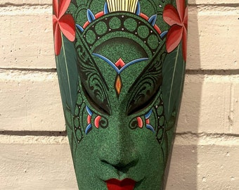 Indonesian Wall Mask, Carved Wood Female Face Green Mask with Pink Flowers, Folk Art Wooden Mask, Indonesian Art Masks, Tribal Wall Decor