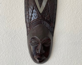 Hand Carved Wooden African Mask, Painted wood tribal mask, African wall art home decor, Vintage tribal, Eclectic home, Decorative mask,