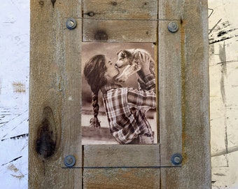 Rustic Barnwood Picture Frame Hand Crafted, Handmade Wood Frame for 5x7 Photo, Rustic Home Decor Gift, Vintage Frame, Reclaimed Wood Gifts