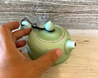 Japanese tea pot, Japanese ceramic pot, Green tea pot, Jade green ceramics, Small tea pot, Mini tea pot, Asian ceramics, Decorative tea pot