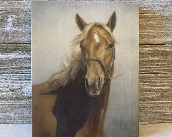 Horse art print on canvas, Horse portrait, Horse decor wall art, Horse lover gift, Country home decor, Western home decor, 8x10 canvas