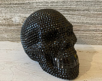 Black Sparkly Skull, Black Rhinestones Covered Skull, Sugar Skull Halloween Decor, Large Bling skull, Ceramic Piggy Bank Skull,