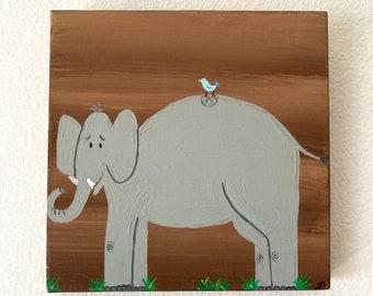 Elephant wall art for kids room, Nursery decor, Elephant painting on canvas, Elephant with bird art, Safari animal art, Gift for kids room