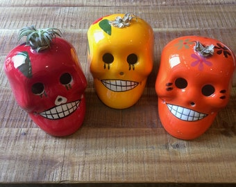 Smiling Skulls Mexican Ceramic decorative skulls Red Orange Yellow Day of The Dead Halloween