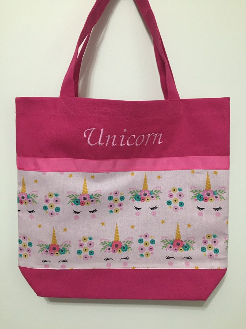 Embroidery Free! Unicorn Tote Bag Overnight Bag Book Bag Toy Bag