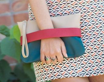 Boho clutch bag Vegan purse Teal clutch purse Small handbag Tan wristlet purse Vegan leather clutch Crossbody purse Boho wristlet clutch