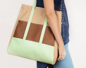 Vegan tote bag Large vegan leather tote Shopper bag Faux leather tote Tan shoulder bag Boho tote bag Colorblock handbag Mint shopping purse