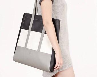 Vegan leather tote Large shoulder bag Black tote bag Vegan bag Faux leather tote Gray Shopper bag Vegan tote purse Women handbag