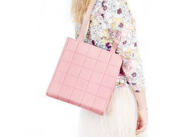 Pink shoulder bag Vegan bag Quilted leather bag Vegan shoulder bag women Vegan purse Blush pink handbag zipper Vegan leather bag everyday