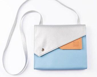 Vegan leather crossbody bag Small crossbody purse Vegan bag Small shoulder bag purse Vegan purse Light blue handbag Womens messenger bag