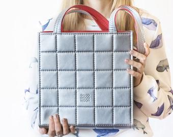 Silver shoulder bag Metallic bag Vegan leather handbag Quilted leather bag women Vegan purse