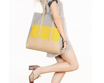 Vegan leather tote bag Large shoulder bag Yellow faux leather tote Tan shopper bag Vegan handbag Boho leather tote Grey purse