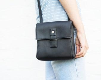 d70dc50b0ad6 Black crossbody bag Vegan leather bag Small crossbody purse Grey small  leather purse Crossbody phone purse Vegan gift for women Black purse