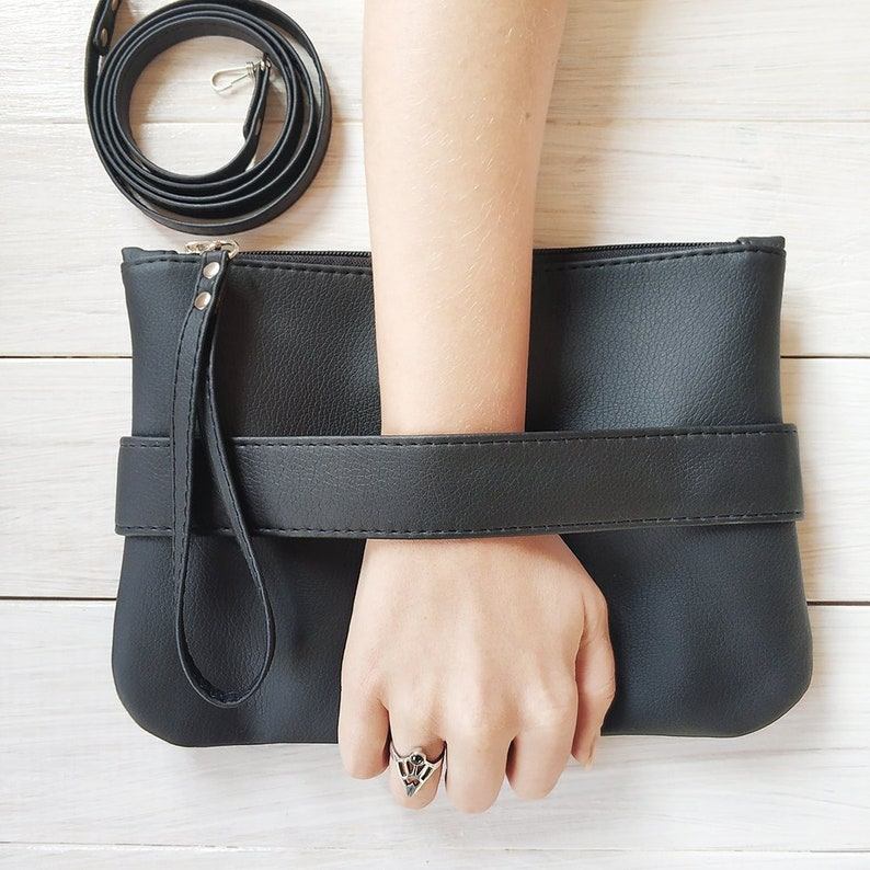 81903213b10 Black purse crossbody Vegan clutch bag Evening purse Vegan bag | Etsy