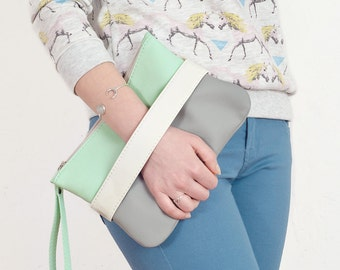 Vegan clutch bag Mint crossbody purse Vegan handbag Gray wristlet Clutch purse with hand strap Small purse Evening bag Mint purse