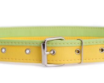 Yellow leather belt Vegan belt for woman Colorful waist belt Vegan leather belt for jeans Yellow belt faux leather