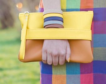 Yellow clutch bag Vegan leather wristlet purse Vegan handbag Orange wristlet clutch purse vegan Small crossbody bag Yellow purse