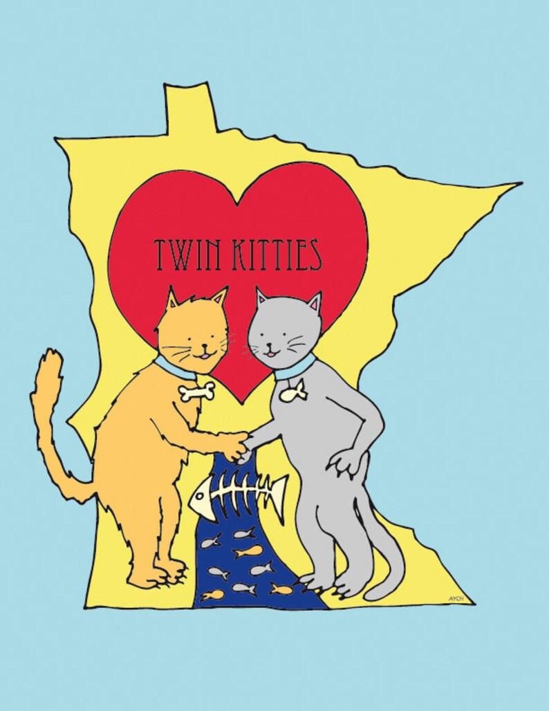 Set of 3  Twin Kitties Postcards  Pack of 3  Matte Finish image 0