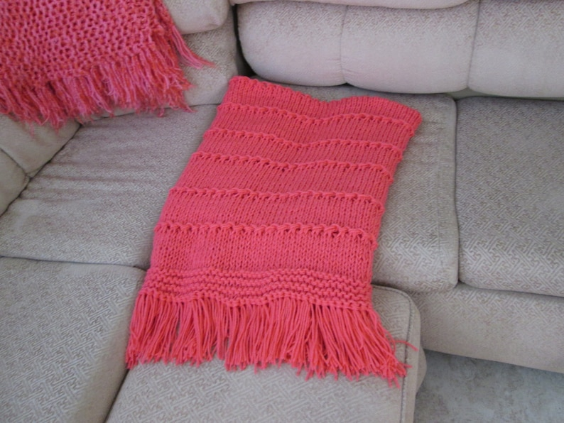 Bright Coral Hand Knitted AfghanThrow
