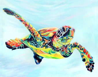 Beach Art Turtles Kauai Art Hawaiian Honu Paintings Ocean Sea Decor Animal Prints Childrens Wall Art Sea Turtle Fine Art Print