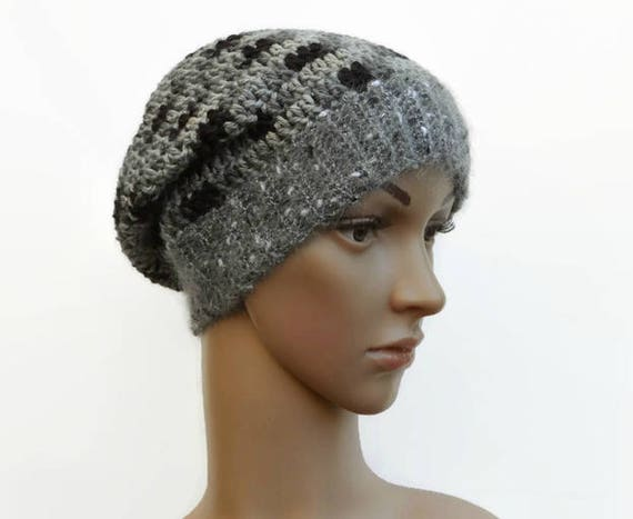 Crochet Grey Hat Ladies Grey and Black Beanie Mohair Slouch  26d4366b0f3