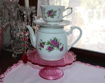 Vintage Pink Floral Teapot Standing Centerpiece or Vase, Wedding,  Bridal,  Baby Shower, Wonderland Mad Hatter Tea Party Decoration
