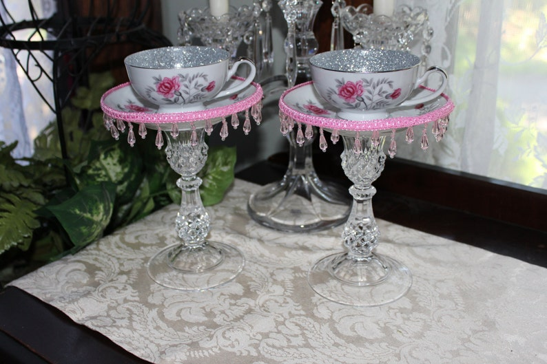 Pair of Vintage Pink Rose & Silver Tea Cup Centerpieces | Etsy