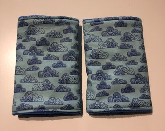 Suck pads, sucky pads, drool pads, dribble pads, straight shape, fit various carriers, clouds design