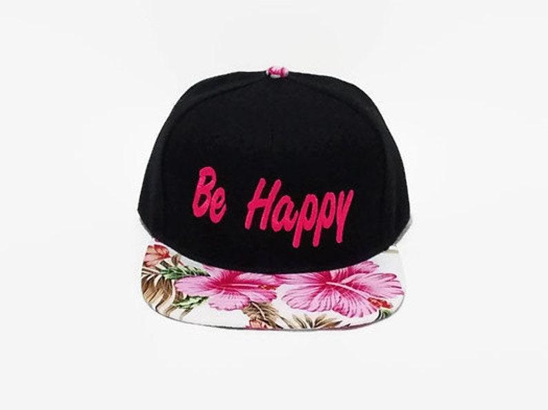 save off 80de9 3a55a Black Snapback Hat Two Tone Cap Be Happy Flat Bill Hat   Etsy