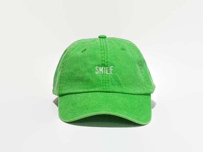 Dad Hat Baseball Cap Baseball Hats Green Smile Hat Trumblr  573395bdd